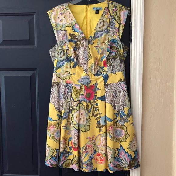 56ee187b37d Cynthia Rowley Dresses   Skirts - Cynthia Rowley Yellow Floral Dress Summer  Knee Len